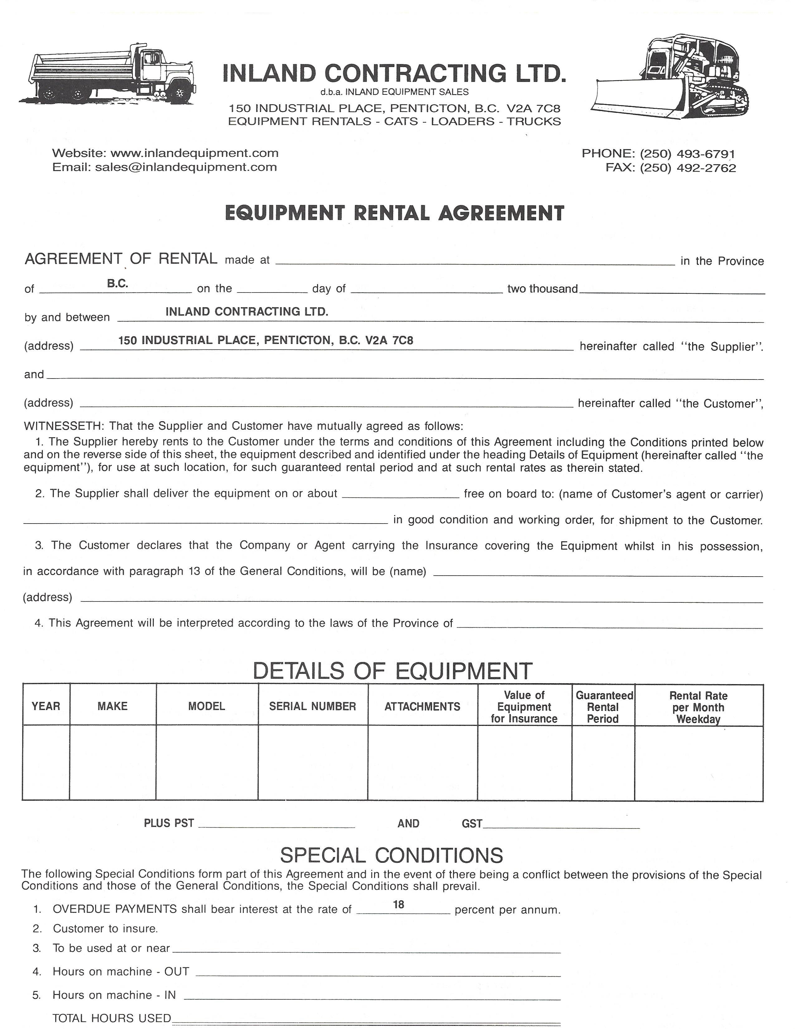 Rental Agreement Inland Equipment Sales